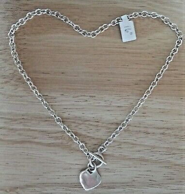 """16"""" Sm Oval Link 17 gram Sterling Silver Heart Charm Necklace with Toggle Clasp"""