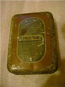 Very Old Bailey's Rubber Bath and Flesh Brush Tin 1800s