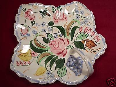 Blue Ridge Loop Handled Maple Leaf Shaped Dish Verna