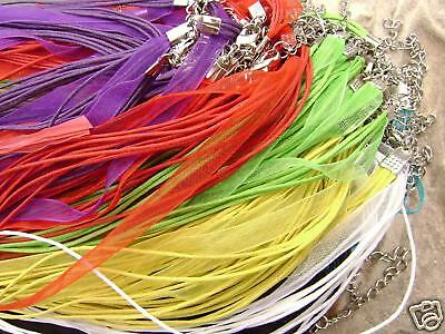 Mixed Color Organza Ribbon Cord Necklace Choker with 2in extender, 10 Qty