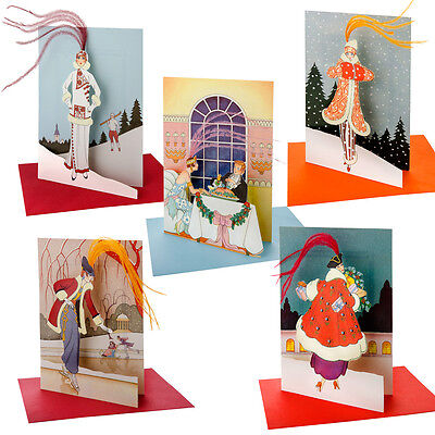 36 Art Deco La Mode Parisienne Die-cut Xmas Cards with Ostrich Feathers XC0016
