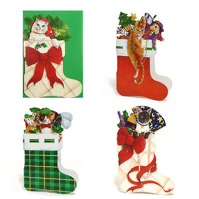 36 Die-cut Cats in Xmas Stocking Christmas Cards XC0028