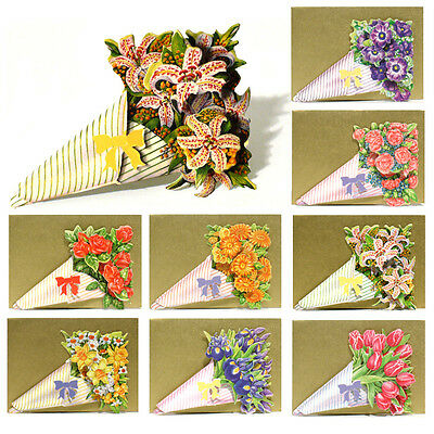 96 Decoupage Die-cut Bouquet Gift Cards with Gold Envelopes EG0007