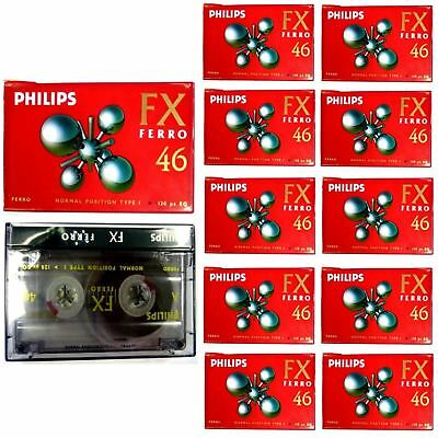 10 Philips Blank Cassette Audio Tapes Hifi Car Recorder Fx Ferro 46 High Quality