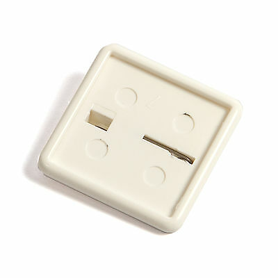 50 BLANK PLASTIC SQUARE BUTTON BADGES 25mm INSERT SIZE