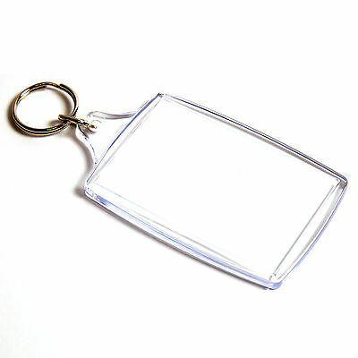 10 BLANK CLEAR EXTRA LARGE KEYRING'S 70mm x 45mm 70 45