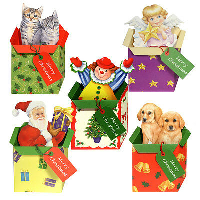 30 Pop-up & Die-cut Present in a Xmas Gift Box with Greeting on Swing Tag XC0043