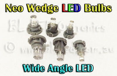 4x Neo Wedge LED Bulbs T3 T4 T5 White Blue Red Green Amber
