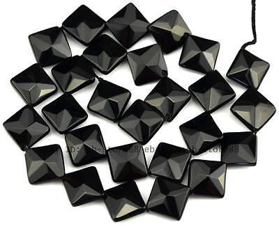 AAA Cut Natural Black Onyx 12mm Flat Square Faceted Beads 15.5'