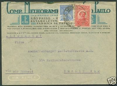 BRAZIL TO GERMANY AIR FRANCE Old Cover VF