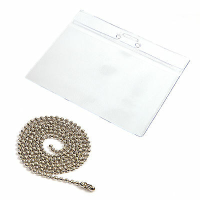 100 Ball Chain & Pvc Wallets Id Pass Holder Badge Card
