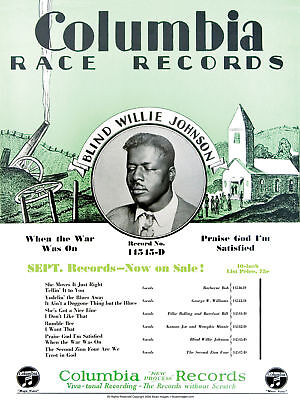 John Tefteller's Blues Images Poster Blind Willie Johnson Columbia Race Records