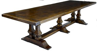 LARGE ENGLISH OAK REFECTORY TABLE SEATS 10-12