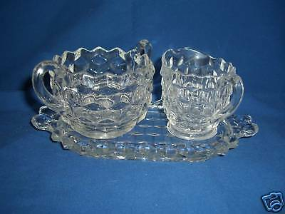 Beautiful Fostoria American Glass Cream & Sugar w/ Tray