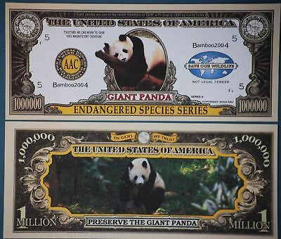 * Panda Million Dollar Bill PLUS HOLDER Protector Novelty Money