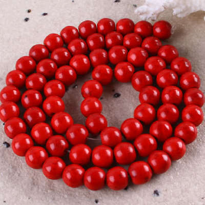 6MM Red Howlite Turquoise Round Ball Loose Beads Gem