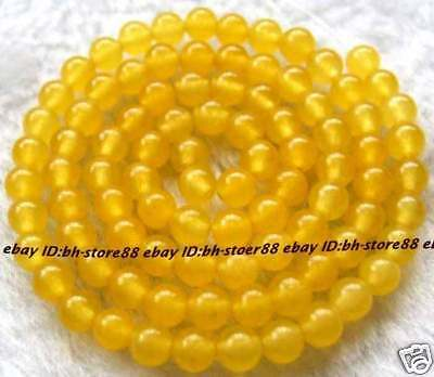 AAA new 4mm Yellow Jade Round Gemstone Beads 15 ''