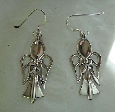 Sterling Silver 35x17mm Spoon Angel Earrings on French Wires