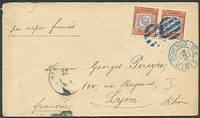 DOMINICAN REPUBLIC TO FRANCE Old Marine Mail Cover VF