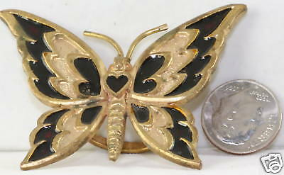 Vintage 1960's Large Brass And Enamel Butterfly Ring