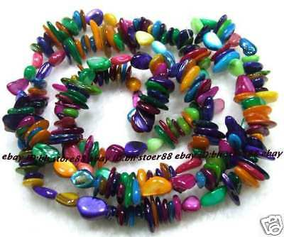 6-14mm Multicoloured Shell Freeform Beads 34""