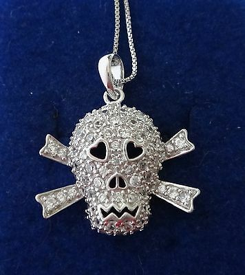 """18"""" Sterling Silver Clear Crystals covering 25mm Skull Crossbones Charm & Chain"""