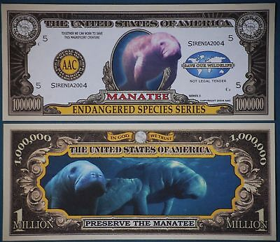 * Manatee Million Dollar Bill PLUS HOLDER Protector Novelty Money