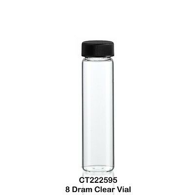 100 Clear Borosilicate Glass Sample Vials w/ Screw Cap 25 x 95 mm 8 Dram - 30 ml