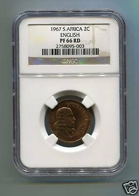1967 SOUTH AFRICA 2c PF 66 RD ENGLISH NGC coin RED