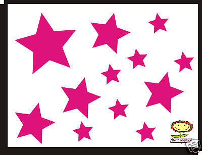 34 Stars Flowers Car Nursery Stickers decals ANY COLOUR BODY PANEL WINDOW SURF