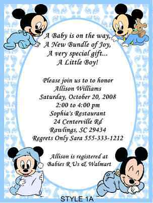 personalized baby mickey  minnie baby shower invitations or thank, Baby shower