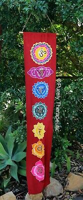 ~LOTUS FLOWER CHAKRA FLAG-Large 155cm Long~Wall Hanging~Reiki~Healing~Scroll~