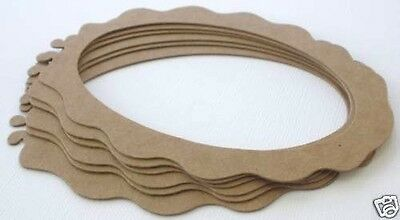 "3 3//4/"" x 4 1//2/"" Bare Picture Frames Chipboard Die Cuts {6} OVAL SCALLOP FRAME"