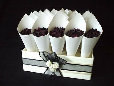25 biodegradable rose red & ivory, pink petal confetti cones tray colour trim