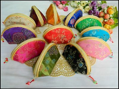 Wholesale120pcs Chinese Handmade Classic Shell Shape Silk Coin Purses Gift Bags