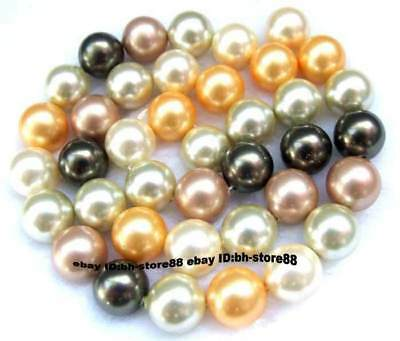 10mm Multicoloured Pearl Shell Round Gemstone Beads 15'