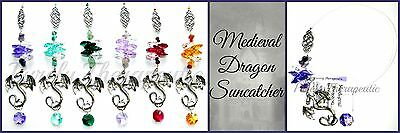 LARGE MEDIEVAL DRAGON SUN CATCHER-34cm Long~Gothic Fantasy Mobile Crystal Glass