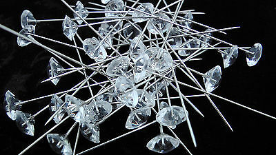 "21 Clear Diamante 2"" Pins Wedding Flowers Floristry Corsage Wedding Bride Groom"