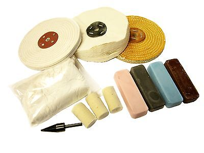 """METAL POLISHING KIT FOR ALL METALS - 6"""" MOPS (37) mops and compound complete set"""