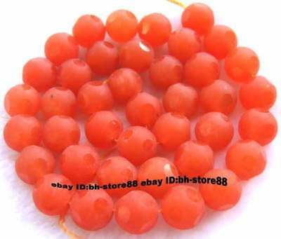 10mm new Orange Jade Round Faceted gemstone Beads 15''