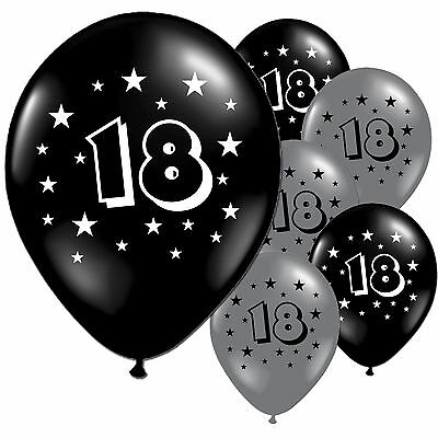 "10 Black Silver 18th Birthday Party 11"" Pearlised Latex Printed Balloons"