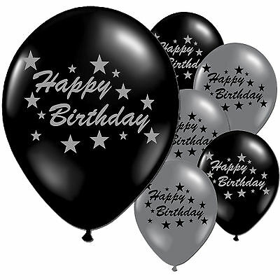 "10 Black Silver Happy Birthday 11"" Pearlised Balloons"