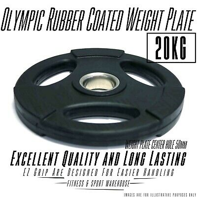 20KG Weight Plate/Plates Olympic Rubber Coated, EZ grip