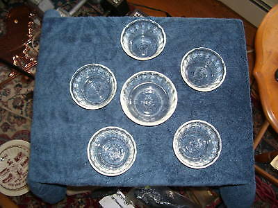 Six (6) *** FIRE-KING *** Clear Glass Bowls 2 Sizes USA