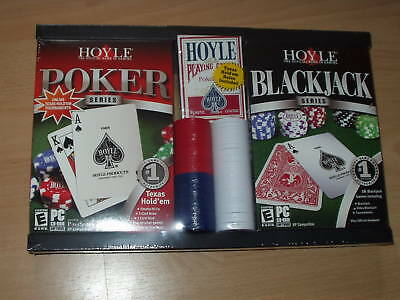 Hoyle Poker + Blackjack Pc Games Set + Chips Cards & Rules