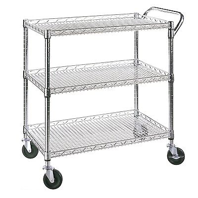 Seville Classics Chrome Plated 3 Shelf Commercial Utility Cart w/ Caster Wheels