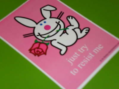 Happy Bunny sticker / just try to resist me  Great for Notebooks binder backpack