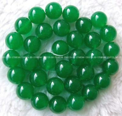 New 14mm Green Jade Round Gemstone Beads 14.5''