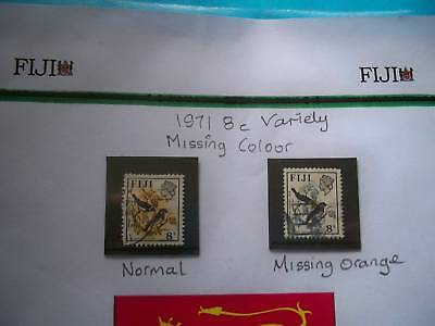 Stamps1971 Fiji 8c variety missing colour