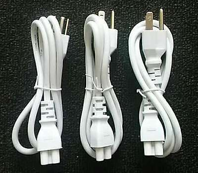 3-Pack HP Sony Dell Toshiba 3 Prong White Cord Cable for Power Charger/Adapter